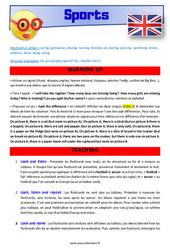 Sports - Anglais - Lexique - Séquence complète : 4eme, 5eme Primaire