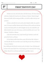 Valentine's Day - Lecture compréhension en anglais : 1ere Secondaire