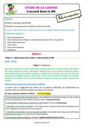 Accord dans le groupe nominal (GN) au  - Étude de la langue - Fiche de préparation : 2eme Primaire