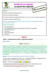 Le pluriel des adjectifs au  - Étude de la langue - Fiche de préparation : 3eme Primaire