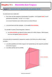 Construire et représenter un prisme droit - Géométrie dans l'espace - Cours : 1ere Secondaire
