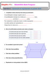Construire et représenter un prisme droit - Géométrie dans l'espace - Exercices avec les corrections : 1ere Secondaire