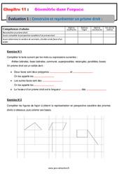 Construire et représenter un prisme droit - Géométrie dans l'espace - Examen Evaluation, bilan, contrôle avec la correction : 1ere Secondaire