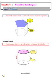 Volumes - Géométrie dans l'espace - Cours : 1ere Secondaire