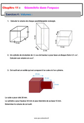 Volumes - Géométrie dans l'espace - Exercices avec les corrections : 1ere Secondaire