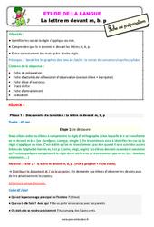 La lettre m devant m, b, p - Étude de la langue - Fiche de préparation : 3eme Primaire
