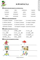 La lettre m devant m, b, p - Étude de la langue - Exercices avec les corrigés : 3eme Primaire