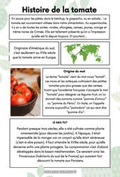 Histoire de la tomate - Lecture documentaire : 3eme Primaire