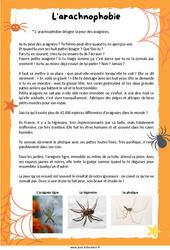 L'arachnophobie - Lecture documentaire : 3eme Primaire
