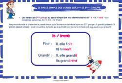 Passé simple des verbes du 2ème et  groupe - Affiche : 3eme, 4eme, 5eme Primaire