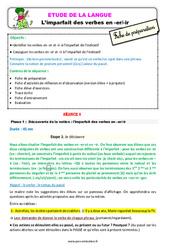 L'imparfait des verbes en - er/ - ir - Étude de la langue - Fiche de préparation : 3eme Primaire