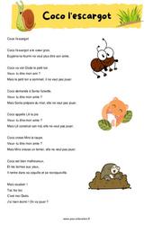 Coco l'escargot - Fable - Récit - Lecture : 2eme, 3eme Primaire