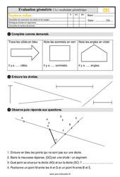 Évaluation, bilan sur le vocabulaire de géométrie au  avec la correction : 2eme Primaire