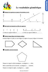 Exercices, révisions sur le vocabulaire géométrique au  avec les corrections : 2eme Primaire