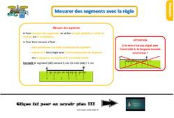 Leçon, trace écrite au  sur mesurer des segments avec la règle : 2eme Primaire