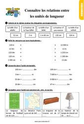 Exercices, révisions sur connaître les relations entre les unités de longueur au  avec les corrections : 2eme Primaire
