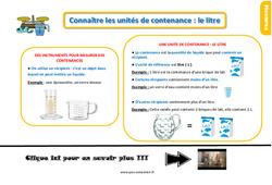 Leçon, trace écrite sur connaître les unités de contenance - Fiches le litre au  : 2eme Primaire