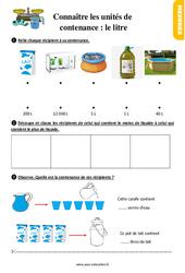 Exercices, révisions sur connaître les unités de contenance - Fiches le litre au  avec les corrections : 2eme Primaire