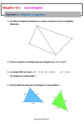 Inégalité triangulaire - Exercices avec les corrections : 1ere Secondaire