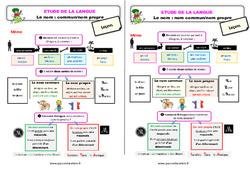 Le nom - Fiches nom commun / nom propre - Étude de la langue - Cours, Leçon : 3eme Primaire
