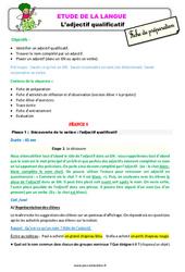 L'adjectif qualificatif - Étude de la langue - Fiche de préparation : 3eme Primaire