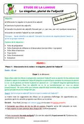 Le singulier, pluriel de l'adjectif - Étude de la langue - Fiche de préparation : 2eme Primaire