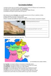 Invasion de l'empire romain par les barbares - Exercices - Moyen âge - : 3eme, 4eme Primaire