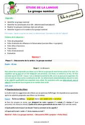 Le groupe nominal - Étude de la langue - Fiche de préparation : 3eme Primaire