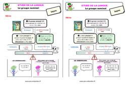 Le groupe nominal - Étude de la langue - Cours, Leçon : 3eme Primaire
