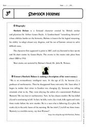 Sherlock Holmes - Lecture compréhension en anglais : 3eme Secondaire