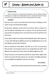 Shakespeare - Romeo and Juliet - Lecture compréhension en anglais : 2eme Secondaire