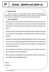 Shakespeare - Romeo and Juliet - Suite de l'exercice de lecture : 2eme Secondaire