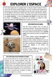 Explorer l'espace - Lecture documentaire : 4eme, 5eme Primaire