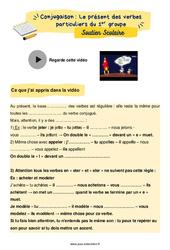 Le présent des verbes particuliers du 1er groupe - Soutien scolaire pour les élèves en difficulté. : 5eme Primaire