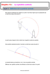 Définition de la symétrie centrale - Cours : 1ere Secondaire