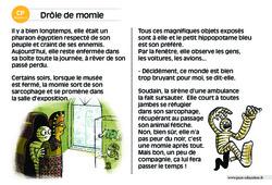 Drôle de momie - Lecture compréhension - Histoire illustrée - Niveau 3 : 1ere Primaire