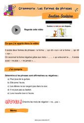 Les formes de phrases - Soutien scolaire pour les élèves en difficulté. : 2eme Primaire
