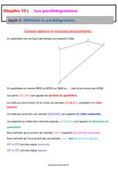 Définition du parallélogramme - Cours : 1ere Secondaire