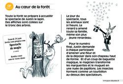 Au cœur de la forêt - Lecture compréhension - Histoire illustrée - Niveau 3 : 1ere Primaire