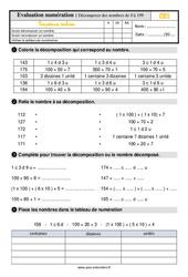 Évaluation, bilan sur décomposer des nombres de 0 à 199 au  avec les corrections : 2eme Primaire