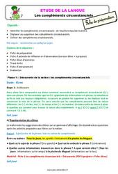 Les compléments circonstanciels - Étude de la langue - Fiche de préparation : 3eme Primaire