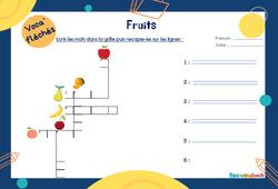 Fruits - Mot étiquette - Voca' fléchés : 1ere Primaire
