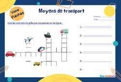 Moyens de transport - Mot étiquette - Voca' fléchés : 1ere Primaire
