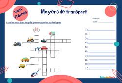 Moyens de transport pour le  - Mot étiquette - Voca' fléchés : 2eme, 3eme Primaire