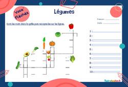 Légumes - Mot étiquette - Voca' fléchés : 2eme, 3eme Primaire