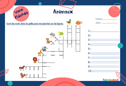 Animaux - Mot étiquette - Voca' fléchés : 2eme, 3eme Primaire