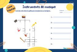 Instruments de musique - Mot étiquette - Voca' fléchés : 1ere Primaire