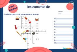 Instruments de musique - Mot étiquette - Voca' fléchés : 2eme, 3eme Primaire