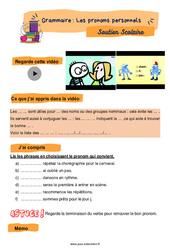 Les pronoms personnels - Soutien scolaire pour les élèves en difficulté. : 3eme Primaire