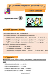 Les pronoms personnels sujet - Soutien scolaire pour les élèves en difficulté. : 2eme Primaire